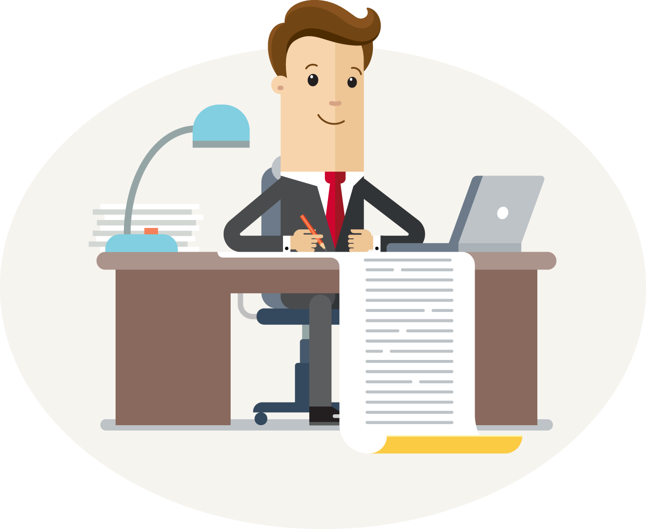 An illustration of an accountant sitting at a desk
